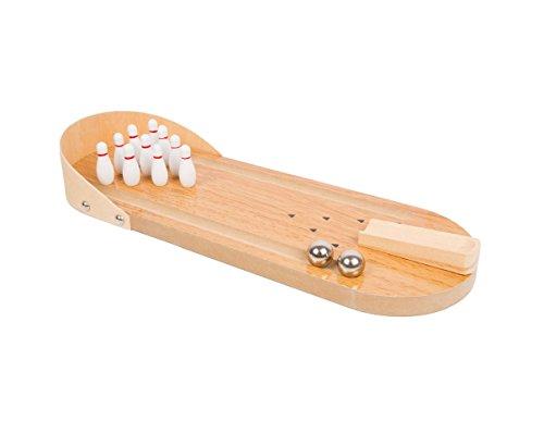 Invero® Mini-Bowling-Spiel-Set aus Holz mit 10 Pins, mit 2 Bowling-Bällen aus Metall, 10 Pins, Startschächte, Seitenrinnen, Rückwand und eine Punktekarte