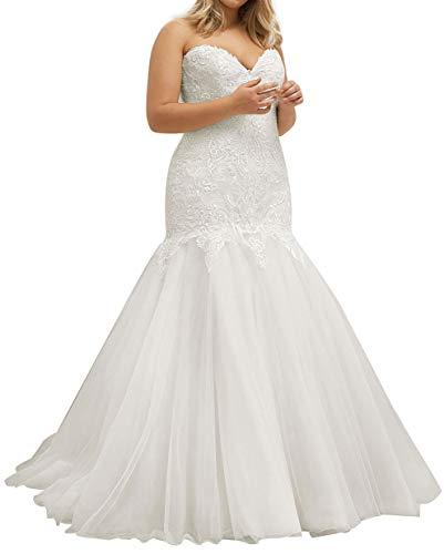 HUINI Brautkleider Lang Meerjungfrau Hochzeitskleid Vintage Spitzen Groß Größe Brautkleid Glitzer Standesamtkleid Elfenbein 36