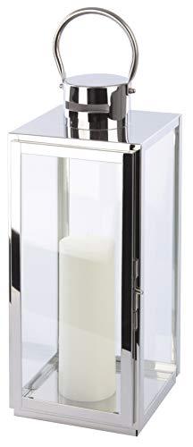 Bingo-Shop Laterne XXL 25 x 25 x 77 cm Gartenlaterne Metall Windlicht Laternen Kerzenhalter Kerzenleuchter F42