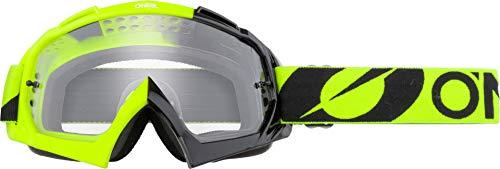 O'NEAL   Fahrrad- & Motocross-Brille   MX MTB DH FR Downhill Freeride   Hochwertige 1,2 mm-3D-Linse für ultimative Klarheit, UV-Schutz   B-10 Goggle   Unisex   Neon-Gelb Clear   One Size