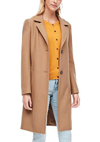 s.Oliver Damen Wollmix-Mantel mit Ziernähten Camel 44