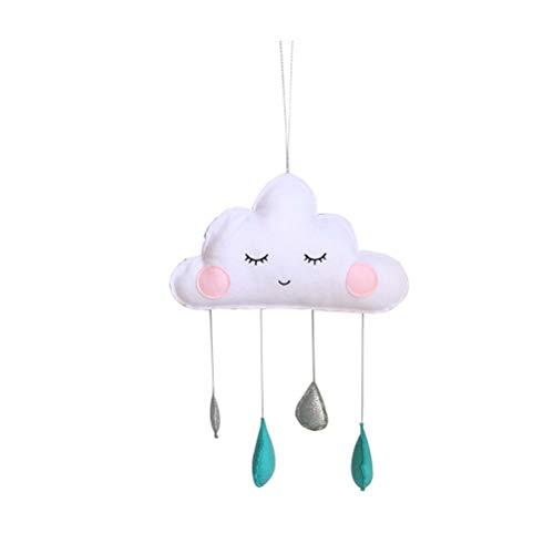 VOSAREA Wolken Regentropfen Hängende Deko Baby Decken Mobile für Babybett Babyparty Kinderzimmer (Weiß und Grün)