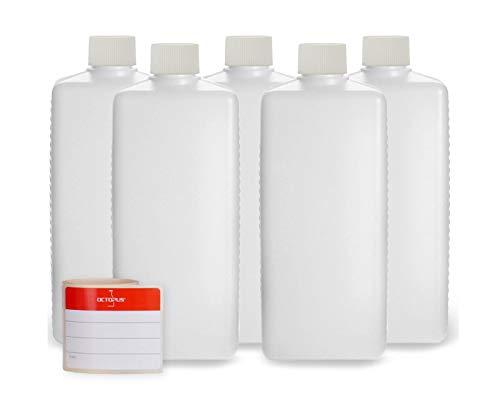 Octopus 5 x 500 ml Kunststoffflaschen, HDPE Plastikflaschen mit weißen Schraubverschlüssen, Leerflaschen mit weißen Schraubdeckeln, Vierkantflaschen inkl. 5 Beschriftungsetiketten