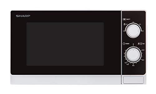 Sharp R200WW Solo-Mikrowelle / 20 L / 800 W / 5 Leistungsstufen / Timer von 35 Minuten bis 00 Sekunden / gewichtgesteuertes Auftauen / Energiesparmodus / Glasdrehteller (25,5 cm) / weiß