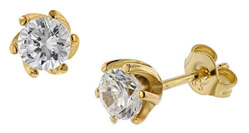 trendor Ohrstecker 333 Gold 8 Karat Ohrringe mit Zirkonia eleganter Schmuck aus Echtgold, Ohrschmuck für Damen, Goldschmuck für Frauen, Geschenkidee 75797