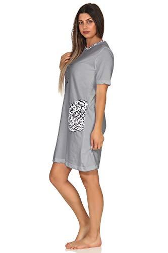 Normann Damen Nachthemd Kurzarm, mit süssen Tigermotiv, auch in Übergrössen bis 60/62, Farbe:grau, Größe2:56/58