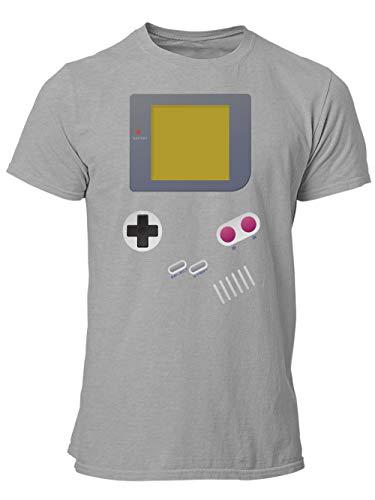 clothinx Handheld Konsole im Vintage 90er Jahre Retro Print | Gamer | Nerd | Geek | Computer Freak | LAN-Party | Herren T-Shirt Grau Gr. L