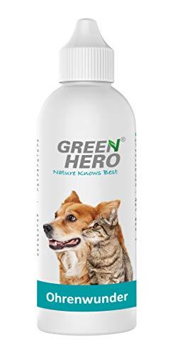 Green Hero Ohrenwunder pflegt das Ohr und unterstützt den Regenerationsprozess bei Ohrmilben Juckreiz Entzündungen Infektionen Läusen für Hund und Katze 500ml