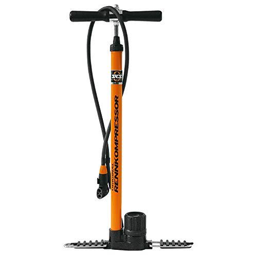 SKS GERMANY RENNKOMPRESSOR Standpumpe, Fahrradpumpe (Luftpumpe mit MULTI-VALVE-Schlauchanschluss, mit Metallrohr & Gusseisenfuß, hochwertiges Präzisionsmanometer, Druck max.: 16 bar, 230 PSI), orange