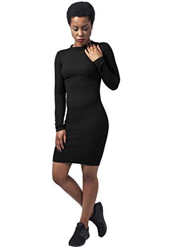 Urban Classics Damen Ladies Rib Dress Kleid, Schwarz (Black 7), 34 (Herstellergröße: XS)