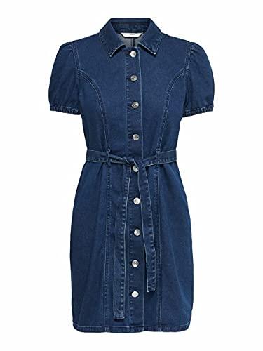 ONLY Female Jeanskleid Puffärmel MDark Blue Denim