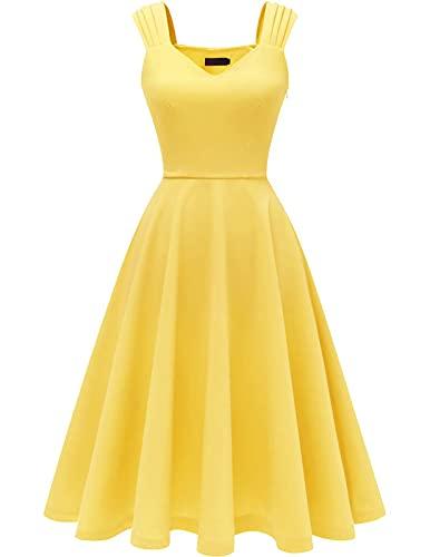 DRESSTELLS Partykleider weinrot Petticoat Kleid ärmellos Festliche Kleider Standesamt Swing Kleid Yellow M
