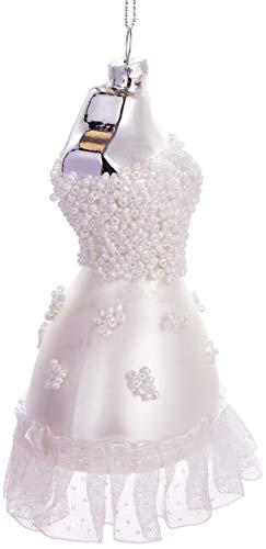 Brubaker Brautkleid Weiß - Handbemalte Weihnachtskugel aus Glas - Mundgeblasener Christbaumschmuck Figuren lustig Deko Anhänger Baumkugel - 12 cm