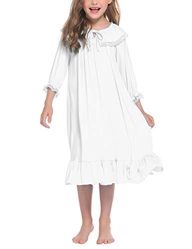 trudge Mädchen Nachthemd Kinder Schlafanzug Kleider Langarm Nachtwäsche Spitze Prinzessin Nightdress Nachtkleider,140,Weiß