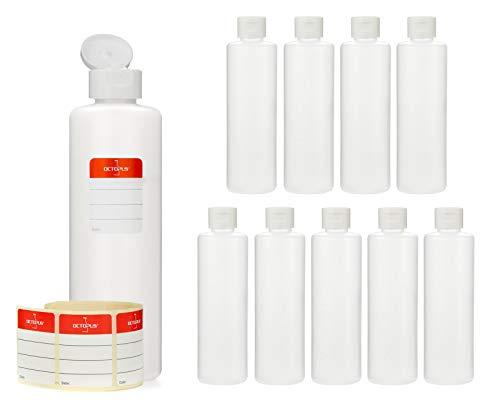 Octopus 10x 250 ml Kunststoffflaschen, HDPE Plastikflaschen mit weißem Klappverschluss, Leerflaschen mit weißem Scharnierverschluss, Rundflaschen inkl. Beschriftungsetiketten