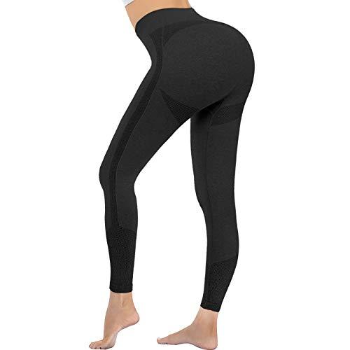 OUDOTA Damen Sports Leggings Slim Fit Hohe Taille Lange mit Bauchkontrolle Sport Blickdicht Yogahose Fitnesshose Laufhose Tights für zum Laufen, Radfahren, Fitness Mit Duft Schwarz M