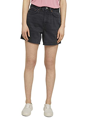 TOM TAILOR Denim Damen 1025737 Denim Mom Fit Bermuda Shorts, 10273-Dark Stone Black, L