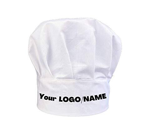 Benutzerdefinierte Kochmütze Unisex Chef Personalisiert Name Text oder Logo Kochmütze aus Baumwolle Küche Hotel Restaurant Gastro-Hüte Einstellbar Kochen, Weiß, Custom Chef Hat Personalized Name Logo