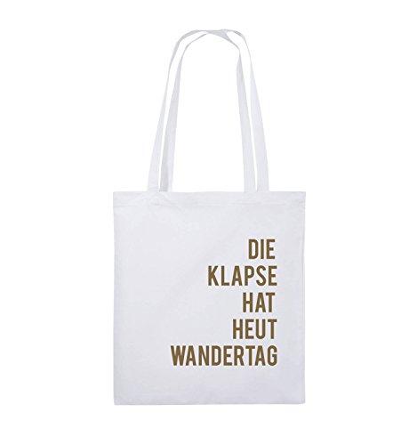 Comedy Bags - DIE Klapse HAT HEUT Wandertag - Jutebeutel - Lange Henkel - 38x42cm - Farbe: Weiss/Hellbraun