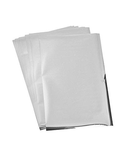 Rico Design Paper Poetry Transferfolie 15,1x9cm in vielen Farben 3D-Optik inkl. Anleitung 6 Blatt Transferpapier farbig Folie Silber