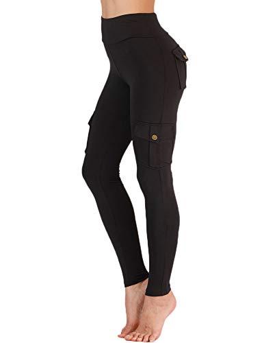 Nuofengkudu Damen High Waist Sporthose Leggings mit Taschen Militärisch Stil Stylisch Push up Tights Hosen Jogginghose Sportleggins Schwarz M