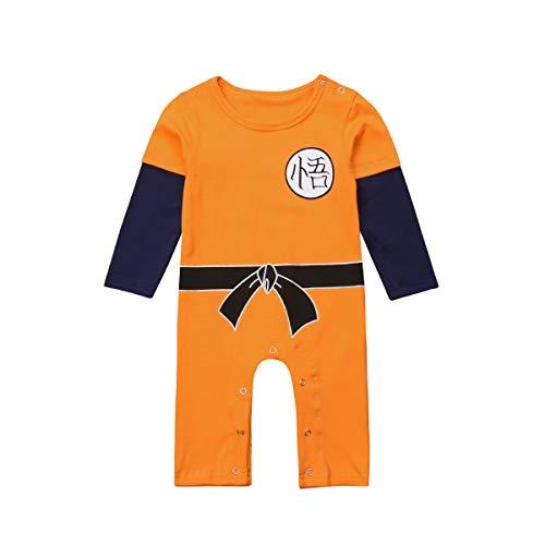 Dragon Ball Z Goku Design Baby Jungen Mädchen Bodys Strampler Cosplay Kostüm Goku-inspiriert Säugling Outfit Neugeborene Baumwolle Overall Kleidung (Orange, 18-24 Monate)