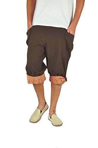 virblatt - Kurze Haremshose Herren   100% Baumwolle   Sommerhose Kurze Hose Sommer Aladinhose Herren Shorts Hippie 3/4 Hose Herren - Großzügig braun