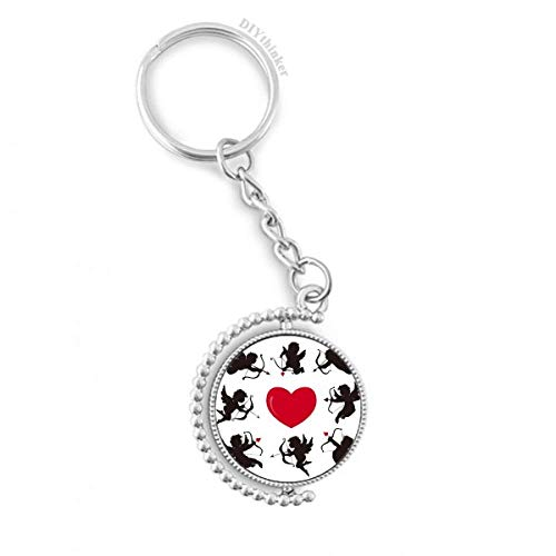 DIYthinker Amor-Engel rotes Herz comination Muster Drehbare Schlüsselanhänger Ringe 1.2 Zoll x 3.5 Zoll Mehrfarbig