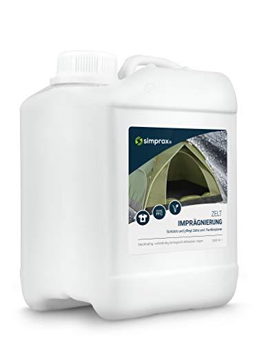 simprax® Zelt Imprägnierung Spray-On - 2,5 Liter Kanister - Oeko-TEX Zertifiziert - UV-stabil, biologisch abbaubar