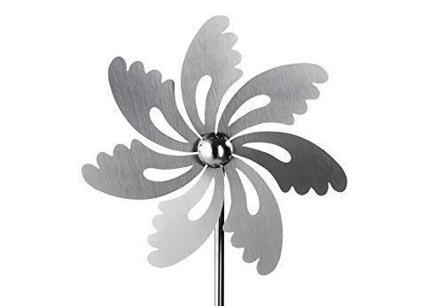 Kobolo Windrad Gartenstecker Dekostecker Windspiel Spring aus Edelstahl Silber 100 cm