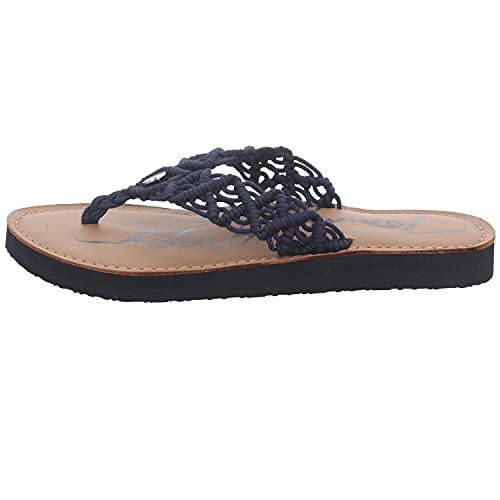 Tommy Hilfiger Damen Th Faded Leather Footbed Flache Sandale, Desert Sky, 40 EU
