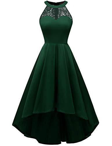 DRESSTELLS Damen 50er Vintage Rockabilly Kleid Neckholder Cocktailkleid Vokuhila Festliche Kleider für Hochzeit DarkGreen S