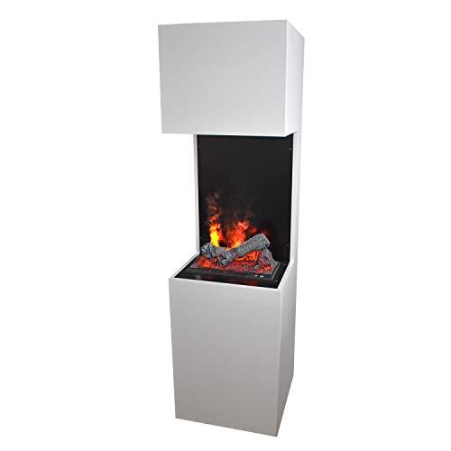 GLOW FIRE Beethoven Elektrokamin Opti Myst 3D Wasserdampf Feuer Opti-myst Cassette 400, elektrischer Raumteiler Standkamin mit Fernbedienung | Regelbarer Flammeneffekt, 60 cm, Weiß