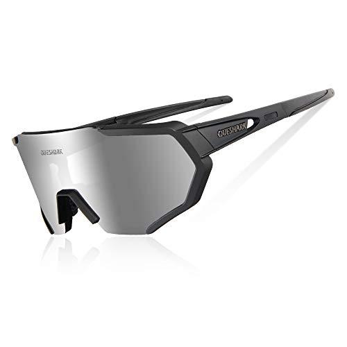Queshark Fahrradbrille,TR90 Unbreakable Frame Polarisierte Sport Sonnenbrille,Fahrradbrille für Männer Frauen mit 3 Wechselobjektiven,zum Fahren Angeln Glof Baseball Laufen CE Zertifiziert