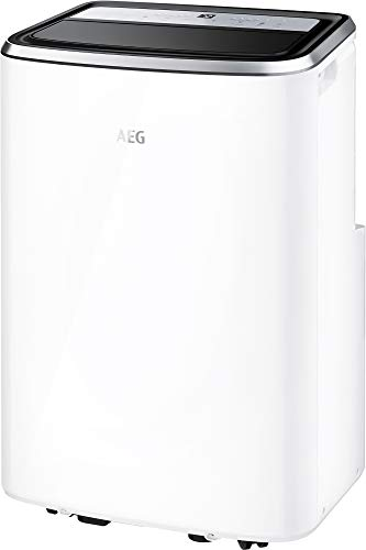 AEG Chillflex Pro AXP26U338CW mobiles Klimagerät / LED Display / Touch-Buttons / Fernbedienung / 30-40 m² / Kühlfunktion / Ventilator / Entfeuchtungsfunktion / Automatik / weiß/silber/schwarz