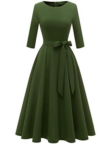 DRESSTELLS Kleider Damen elegant Vintage Swing Kleid Abendkleider Langarm Cocktailkleid festliches Kleid kurz ArmyGreen M