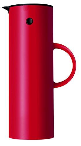 Stelton Isolierkanne EM77 - Doppelwandige Isolierkanne für heiße/kalte Getränke - Tee- & Kaffeekanne mit Glaseinsatz, Magnetverschluss, Schraubdeckel, Vintage-Design - 1 Liter, Rot
