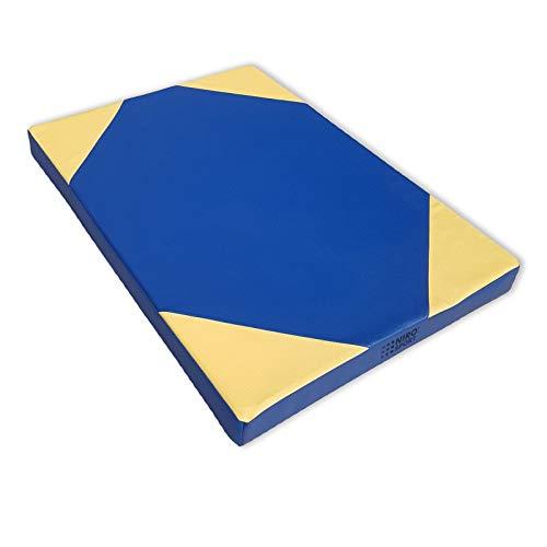NiroSport Turnmatte für zu Hause / 8cm hohe Weichbodenmatte für Gymnastik & Yoga / Kinder Sportmatte für Turnhallen – hautfreundlicher Fitnessmatte aus abwaschbarem Kunstleder (100 x 70; Blau/Gelb)