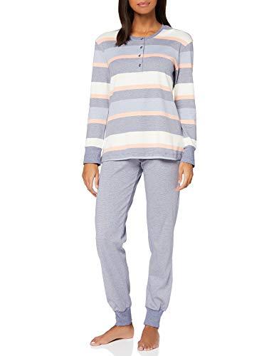 Schiesser Damen Anzug lang Pyjamaset, blau, 42