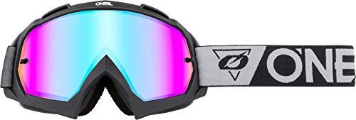 O'NEAL | Fahrrad- & Motocross-Brille | MX MTB DH FR Downhill Freeride | Hochpräzise 3D geformte Linse mit Schlagfestigkeit und 100% UVA/B/C-Schutz | B-10 Goggle | Unisex | Schwarz Grau verspiegelt