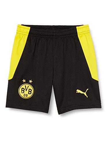 PUMA Uni Shorts BVB Replica Jr, Puma Black-Cyber Yellow, 140, 757177