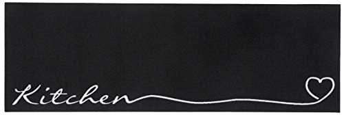 Zala Living Waschbarer Küchenläufer Küchenteppich Teppichläufer Kitchen (50x150 cm, 100% Polyamid, rutschfest, Fußbodenheizung geeignet), Schwarz/weiß