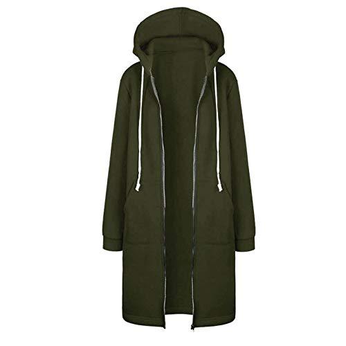 Shenye Damen Open Hooded Fleece Sweatshirt, Elegante Damen Reißverschluss Langarm Langmantel Jacke Tops, Ladies Casual Jacke Mantel mit Taschen Herbst Winter