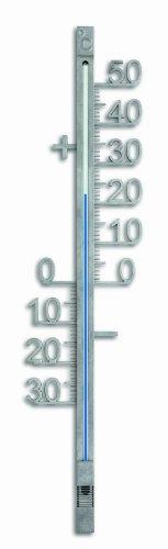 TFA Dostmann Analoges Außenthermometer, aus Metall, wetterfest, freistehende Gradzahlen,L 100 x B 17 x H 428 mm