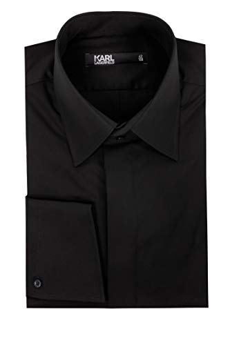 Karl Lagerfeld Herren Hemd Schwarz 43