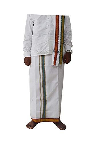 Spacetouch Dhoti Herren Baumwolle mit Bordüre Lungi Panche Men Vesti Dhuti Men Dhotar 4,5 Meter freie Größe Weiß