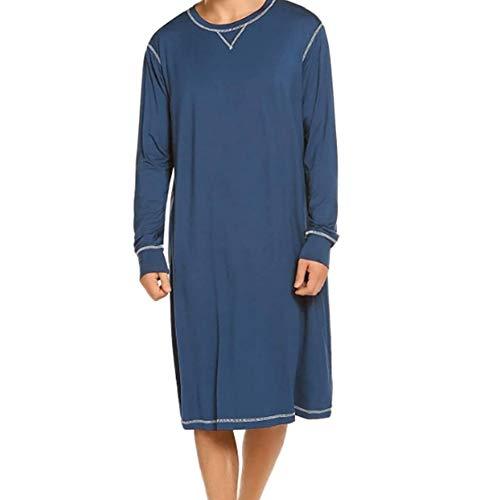 Herren Langarm Schlafanzug Schlafoveralls Nachtwäsche V-Ausschnitt Knielang Schlafkleid nachthemden Kurz Pyjama Oberteil für Männer Sommer (Blau, 2XL)
