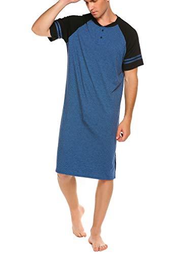 Meaneor Herrennachthemd Kurzarm Baumwolle Nachthemd Einteiliger Schlafanzug Schlafshirt für Männer Nachtwäsche Schlafkleid Nachthemden Sleepshirt Blau 3XL