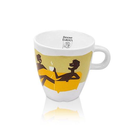 Douwe Egberts Design Tasse Kaffee Becher Kaffeetasse Gelb Porzellan 250 ml