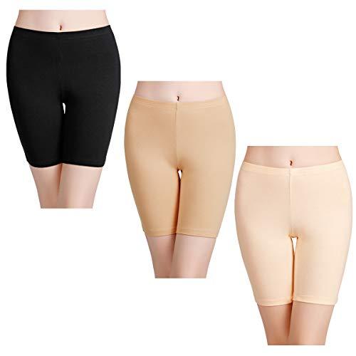wirarpa Boxershorts Damen 3er Pack Lang Baumwolle Unterwäsche Weich Panties Hosen Unter Kleid Größe L